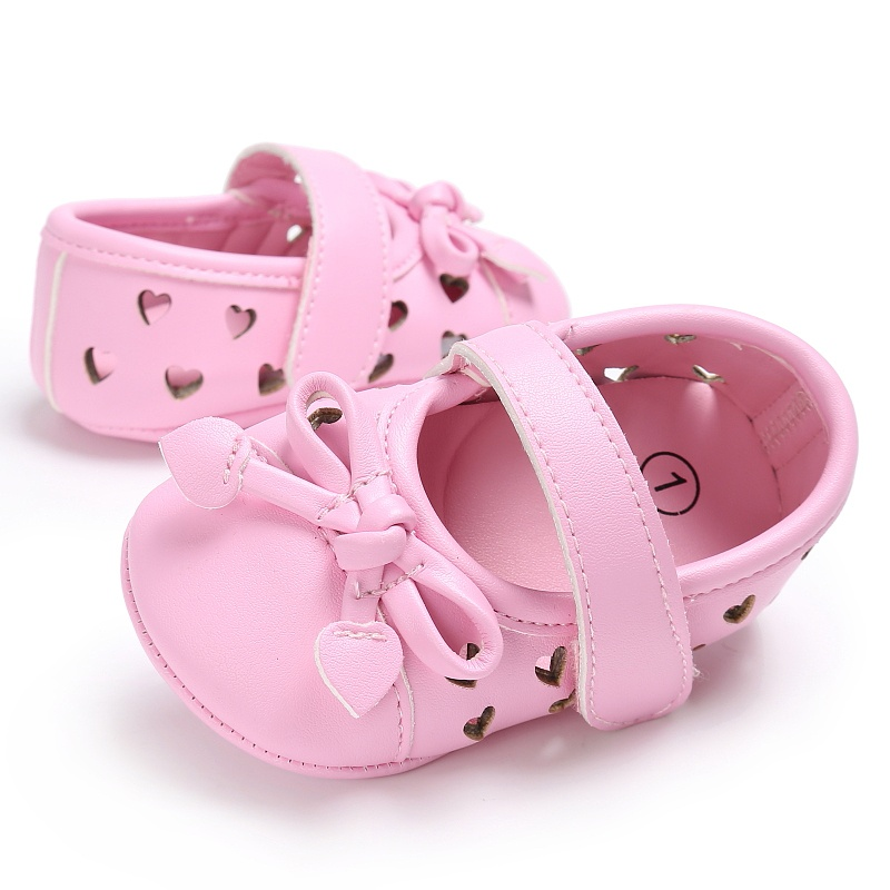 Cute Girls Princess Shoes Kids Newborn PU Leather Bowknot Hollow Heart-Shaped Soft Soled Anti-Slip Baby Shoes