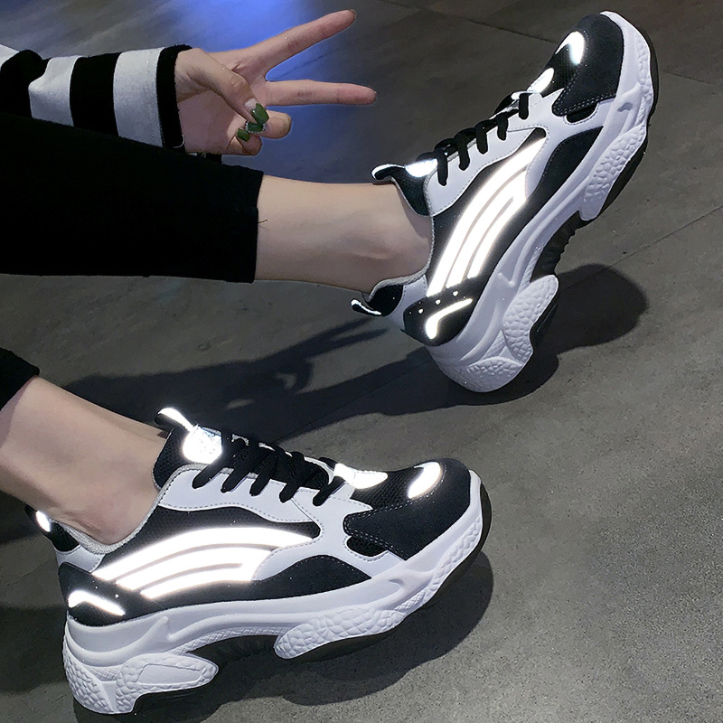 Reflective Platform Sneakers Women Vulcanize shoes Sneakers Women Shoes Women Flats Sneakers Shoes Chunky Sneakers Female Shoes