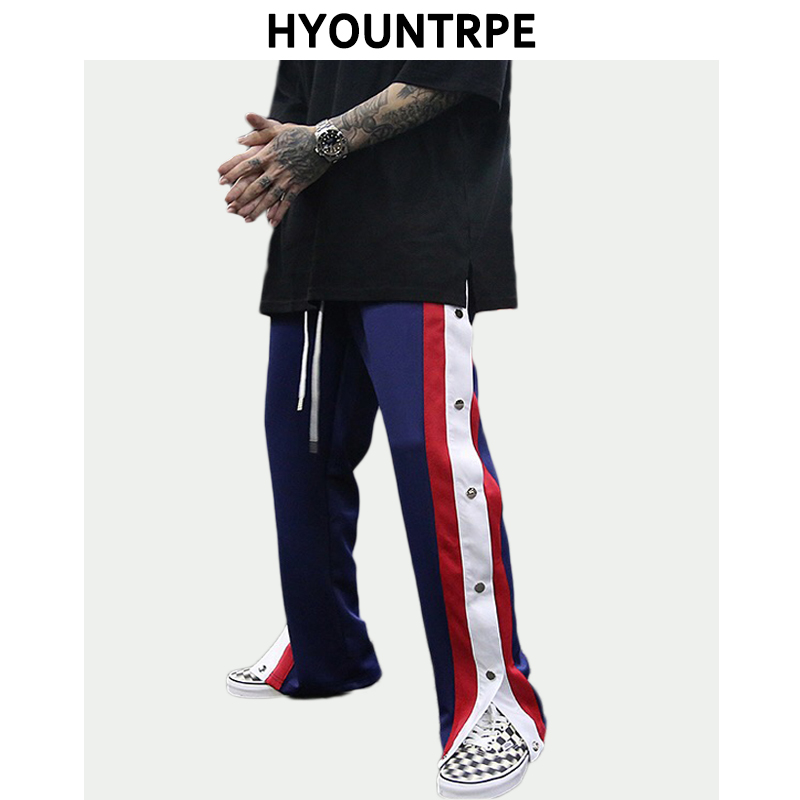 Men's Casual Hip Hop Joggers Side Button Trousers Elastic Waist Drawstring Loose Sweatpants Retro Cargo New Streetwear Man Pants