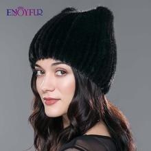 ENJOYFUR ผู้หญิงฤดูหนาวหมวกธรรมชาติ Mink FUR หมวกใหม่แฟชั่นขนสัตว์ caps หญิงหนารัสเซีย beanies หมวก