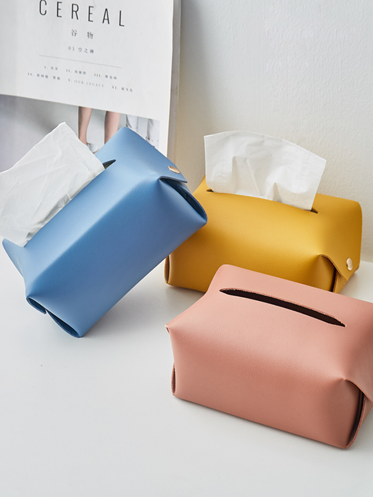 Paper Towel Container Facial Napkin Bag Holder Home Desktop Organizer Car Seat Storage Removable Tissue Case Leather Wipes Box