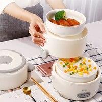 2L Elektrische Kleine Mini Dampf Reiskocher Reisen Lebensmittel Cuiseur Multicooker 2 stücke Keramik Suppe Inneren Topf für Mittagessen Boxen 220V
