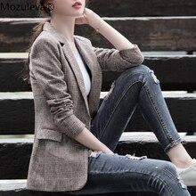BornSra Women Blazer Vintage Plaid Tweed Women Suit Fashion Office Ladies Long S
