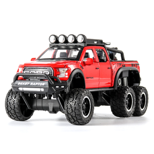 Image 2 - 1:32 Big Pick Up Model Toy Car For Ford F150 Raptor Sound Light Sliding Car With Motorcycle For Kids Toys Gifts Free Shipping