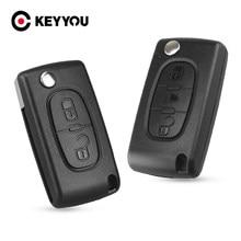 Раскладной чехол KEYYOU для автомобильного ключа-пульта с 2 кнопками для PEUGEOT 206 307 308 207 407 408 для Citroen C2 C3 C4 C5 C6 C8