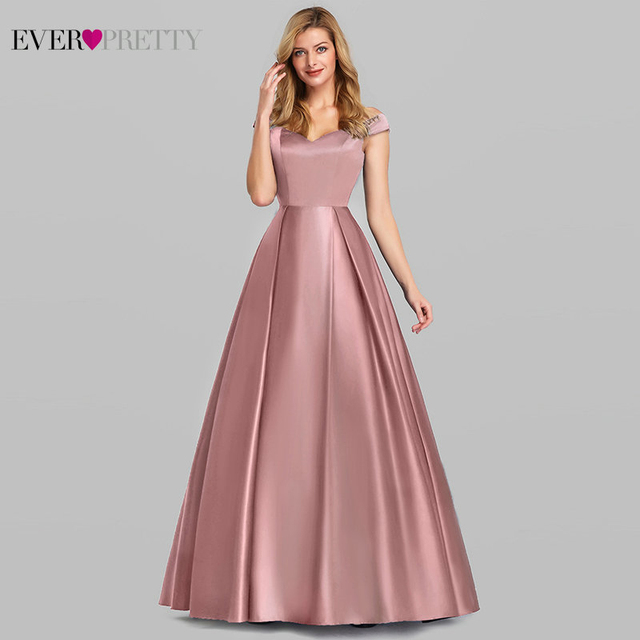 Navy Blue Elegant Women Long Prom Dresses 2020 Ever Pretty Satin A-LIne V-Neck Off The Shoulder Vintage Formal Party Dresses 1