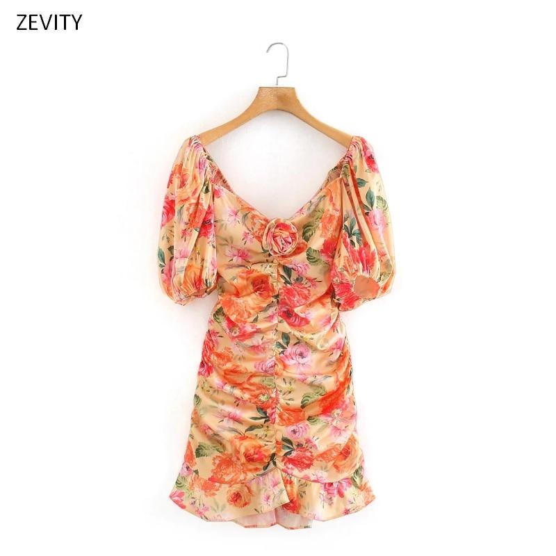 Zevity New women rose flower print pleated ruffles mini dress female vestido puff sleeve backless bow tie elastic dresses DS3989