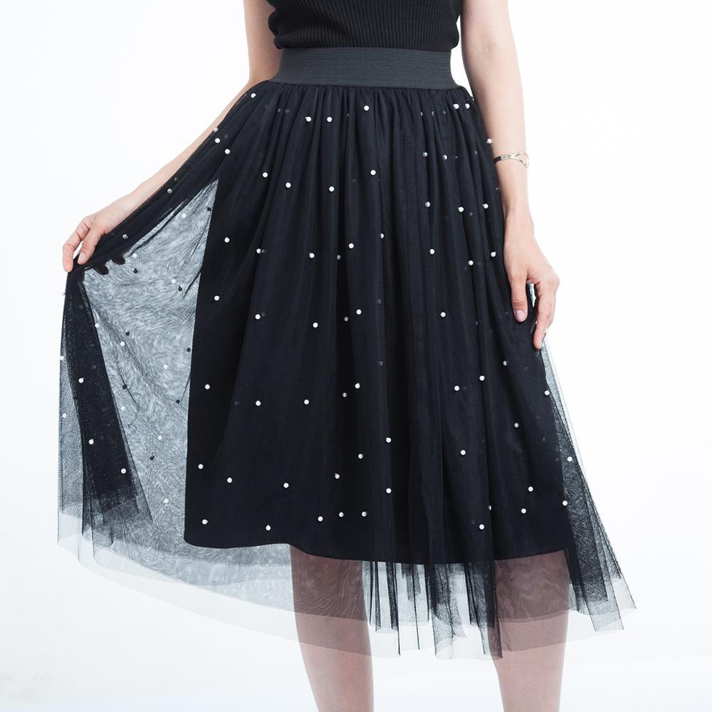 3 Layers Tulle Beading Women Skirts 2020 Spring Mesh Tulle Skirt With Bead Tutu Elastic Waist Pleated Skirt