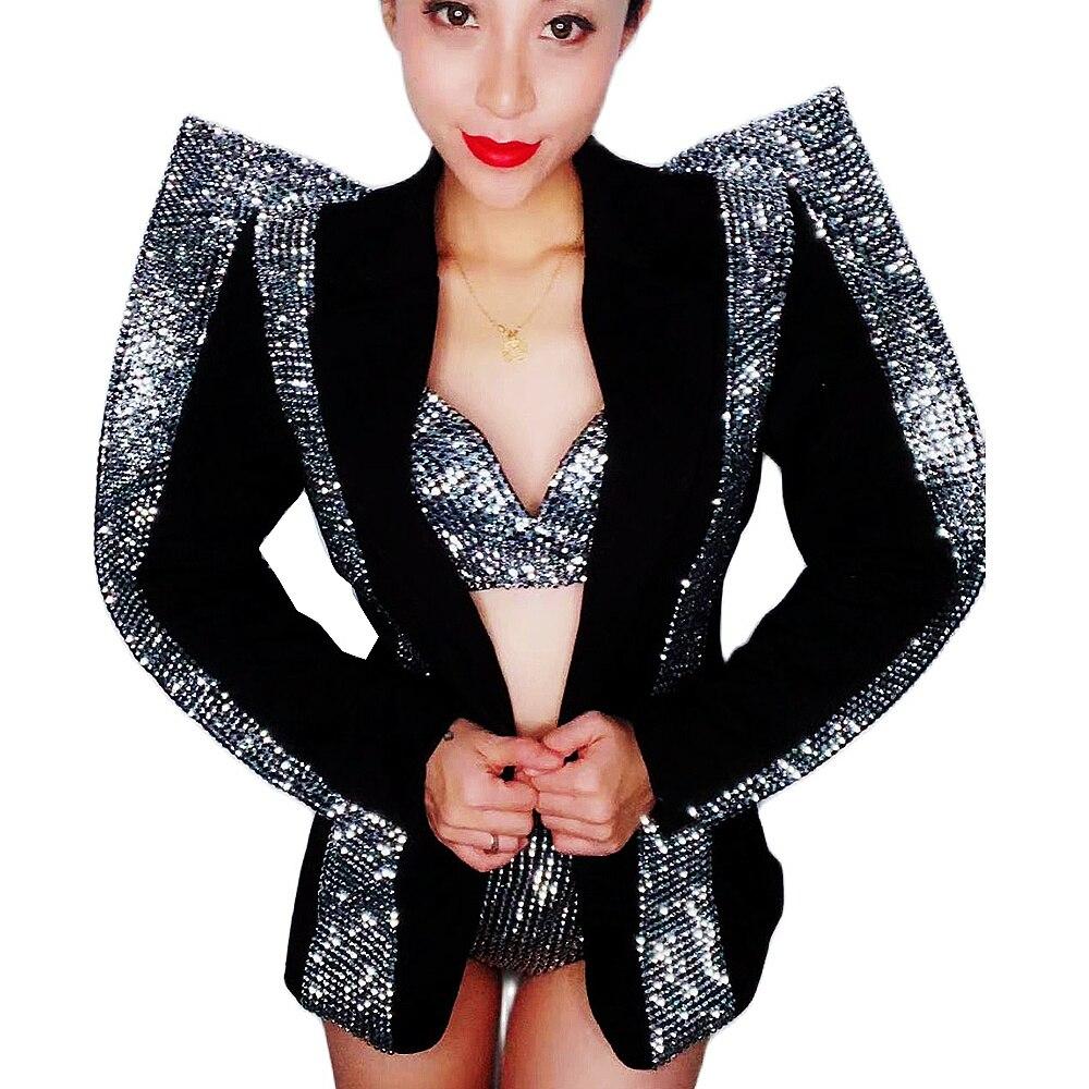 Sparkling Rhinestone Black Coat Jacket Shining Crystals Bra Shorts Bikini Nightclub Bar Prom Party Outfit Singer Stage Costume