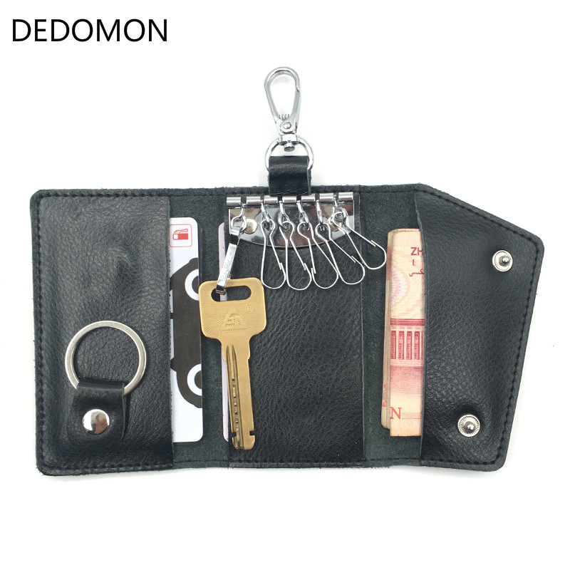 2020 Key Holder Wallet 100% Genuine Leather Unisex Solid Key Wallet Organizer Bag Car Housekeeper Wallet Card Holder