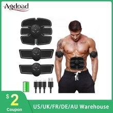Inteligente estimulador muscular elétrico ems abs vibrador muscular abdominal exercitador corpo moldar massageador máquina usb