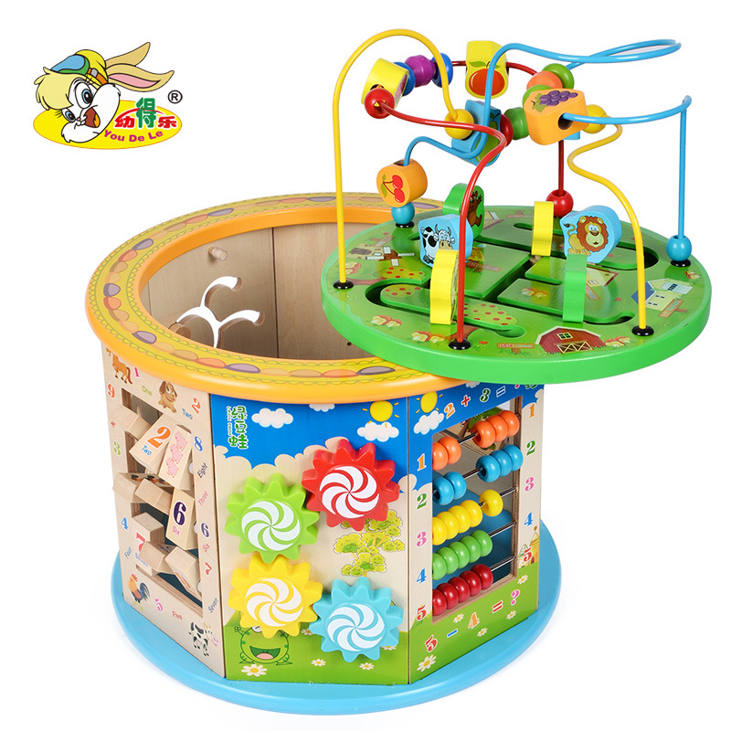 Children Wood Barrel Educational Force Large Size Eight Large Bead-stringing Toy Treasure Chest 1-2-3-Year-Old Early Education M