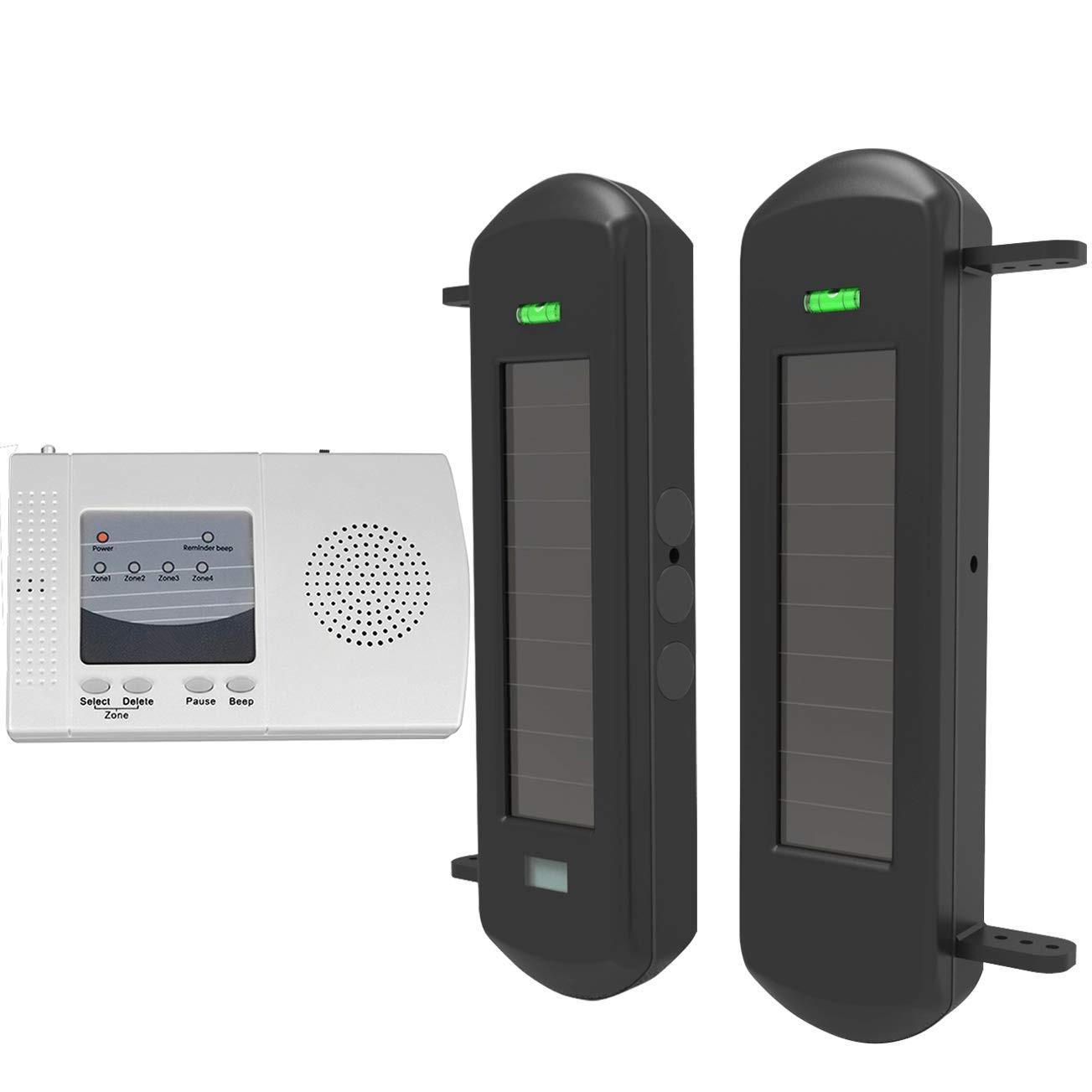 Solar Wireless Driveway Alarm System-1/2 Mile Long Transmission Range-300 Feet Wide Sensor Range-No Wiring Outdoor Weatherproof