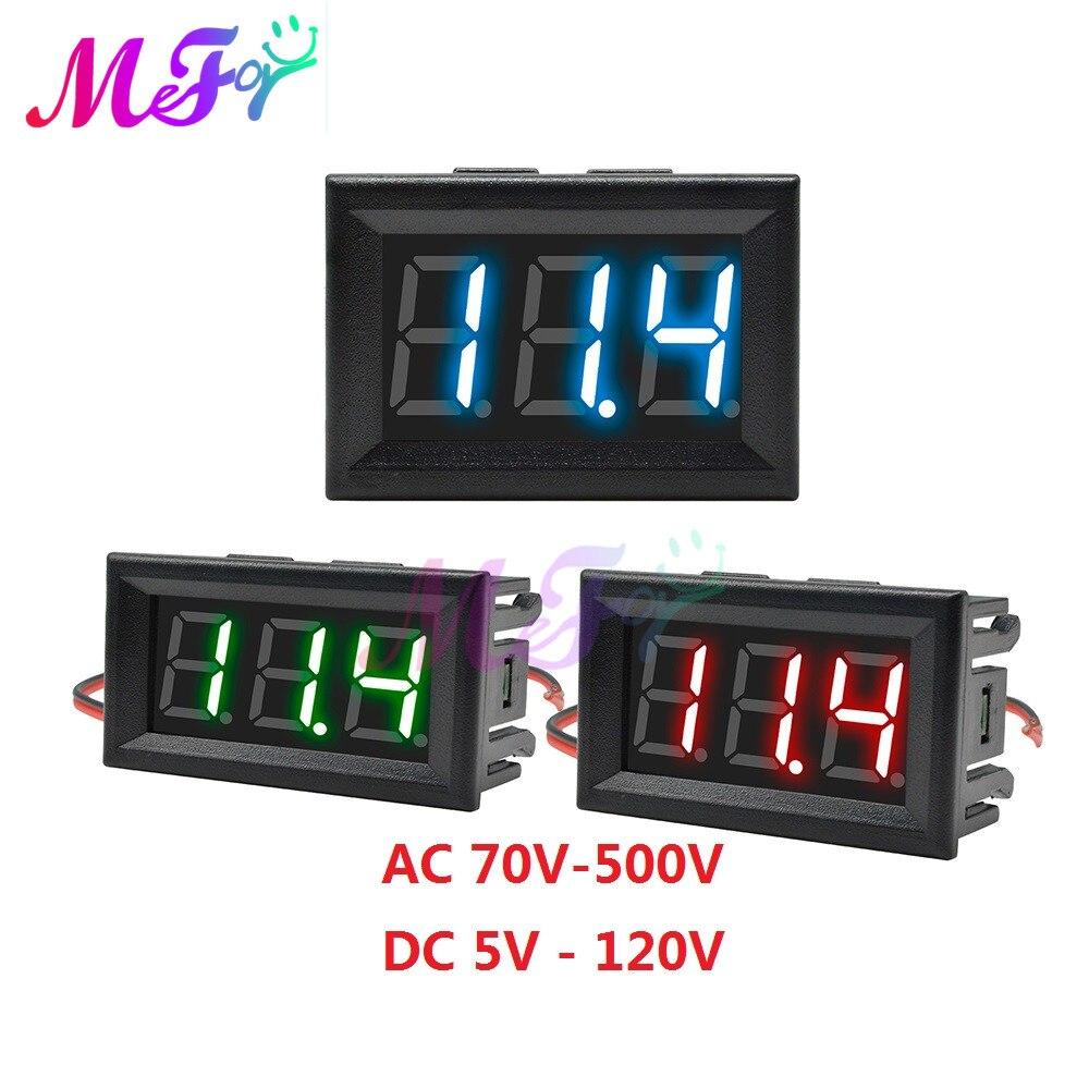 """70-500V 0.56 """"LED voltmètre numérique tension mètre Volt Instrument outil 2 fils rouge vert bleu affichage 110V 220V DC 5V à 120V"""