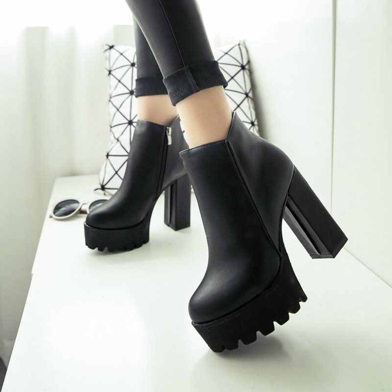 Women's Fashion Side Zipper Ankle Boots Platform Thick High Heel 12 cm Ladies Boots Winter Woman ShoesBlack boot