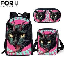 3Pcs/set Custom School Bags Teenager Students Gothic Cat Primary Orthopedic Backpack for Girls Boys Bookbag Travel Rucksack 2019