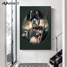 Fumar pirata cão goos vintage arte abstrata posters e cópias palácio animal imagem da parede decoração da lona para sala de estar
