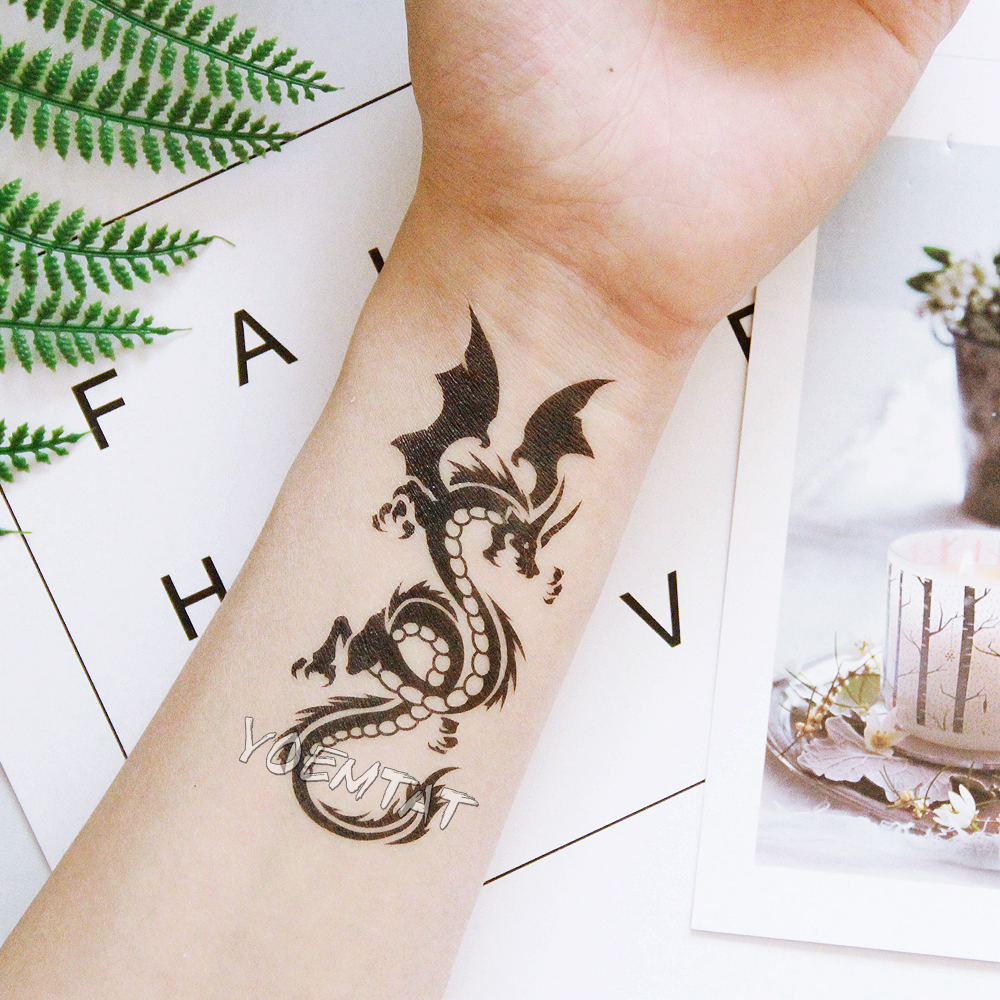 Waterproof Temporary Tattoo Sticker 10.5*6 Cm Dragon Tattoo Water Transfer Fake Tattoo Flash Tattoos For Men Women #422