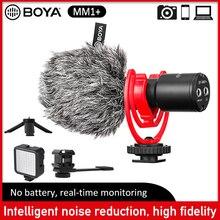BOYA BY MM1 + الهاتف الذكي ميكروفون مكثف ميكروفون لاسلكي آيفون أندرويد موبايل DSLR كاميرا يوتيوب تسجيل الفيديو