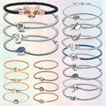 Furuya Lover 925 Sterling Silver Bracelet Heart T-Bar Snake Chain Sparkling Blue Disc Clasp Snake Chain Bracelet Women Jewelry