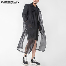Fashion Double Breasted Outerwear Thin See Through Streetwear Coats INCERUN Mens Mesh Trench Long Sleeve Lapel Long Jackets 5XL