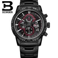 BINGER Mens Watches Top Brand Luxury Casual Leather Quartz Clock Male Sport Waterproof Watch Gold Watch Men Relogio Masculino