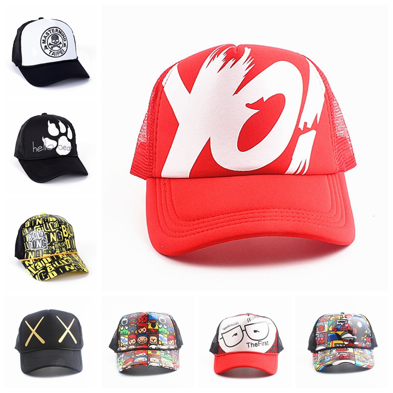 Summer Adjustable Mesh Snapback Hip Hop Skull Printing Men Baseball Caps Women Breathable Hats Men's Trucker Hats Boy Cap Casual
