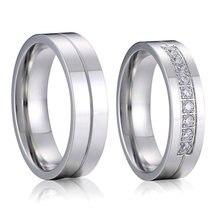 Alta qualidade casal anéis de casamento para homens e mulheres prata cor aço inoxidável amor alianças aniversário casamento anel