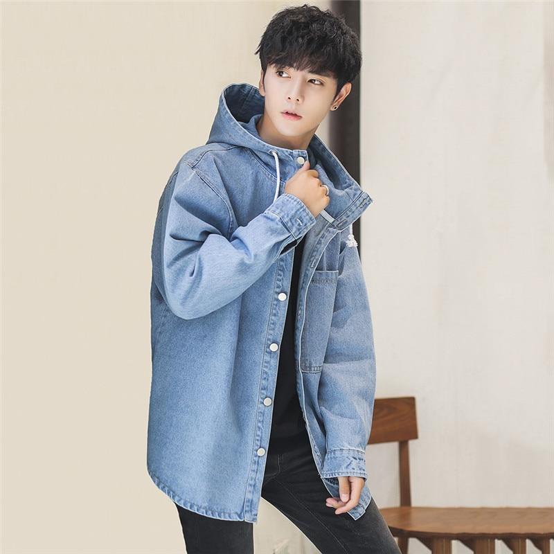 2019 New Denim Jacket Men Spring Autumn Fashion Loose Long-Sleeved Coat Hooded Medium Long Large Size Casual Men Outwear JIA428