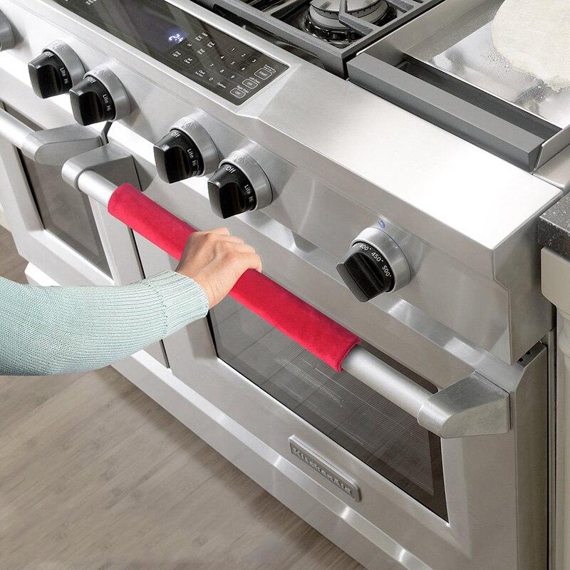 2pc Refrigerator Doorknob Cover Kitchen Appliance Decor Handles Antiskid Protector Gloves for Fridge Oven Keep Off Fingerprints