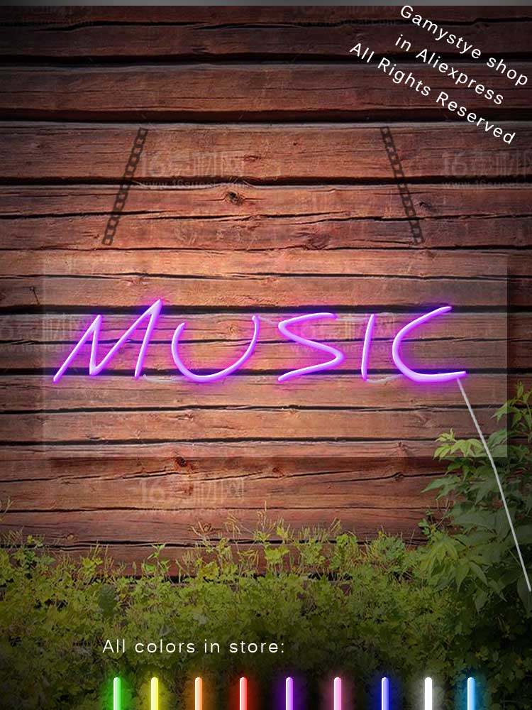 MUSIC LOVE Neon Lights Sign Glass tube for Party Bar Decor Room Birthday Neon Light Art Decorative Cool Light Home Bedroom Bar image