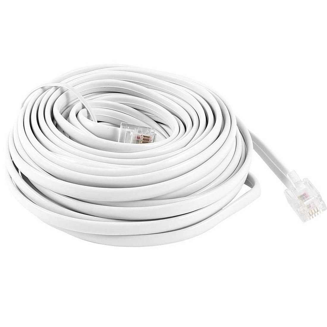 Cordon de téléphone modulaire RJ11 6P4C 10 mètres | Câble de plomb, extension, fil de cuivre pur pour Modem de téléphone fixe, fax POS ADSL