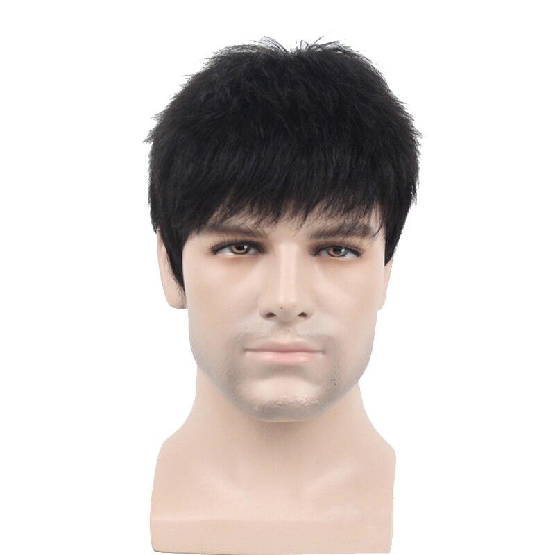 JINKAILI короткий мужской парик прямой синтетический парик для мужчин волосы флисовые реалистичные натуральные черные парики