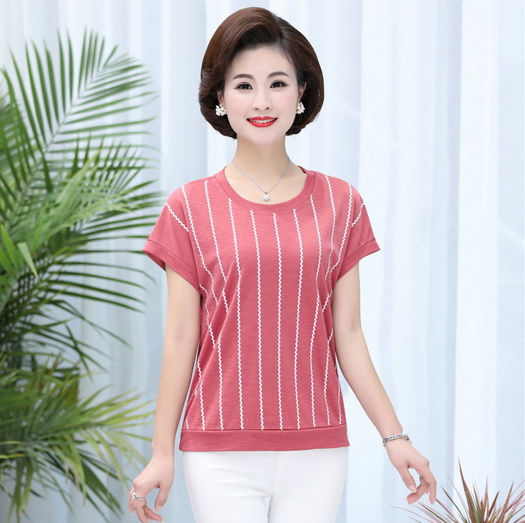 stripe t shirts short sleeve women tops o neck pullover summer t shirt 2020 new casual plus size middle age mother tee shirt|T-Shirts|   - AliExpress