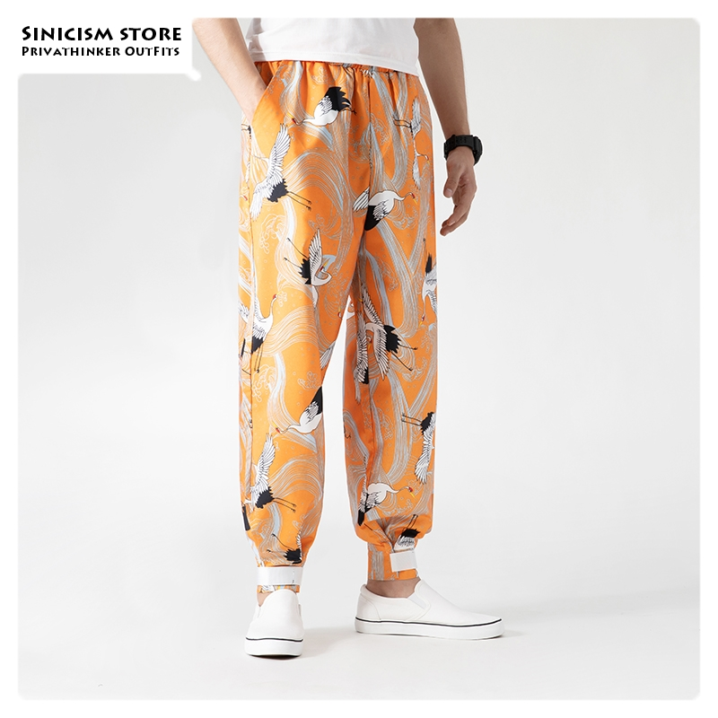 Sinicism Store 2019 Men Print Chinese Style Autumn Pants Mens Vintage Large Size Haren Pants Male High Quality Loose Trousers