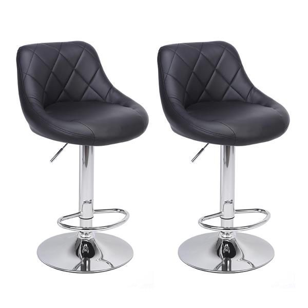 2pcs Adjustable High Type With Disk No Armrest ,Rhombus Backrest Design Bar Stools Black  PU Leather Surface, ,bar Chair.