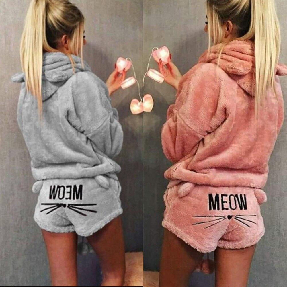 Hot Fashion 2019  Winter Women Flannel Pajamas Set Bear Hooded Pajamas Winter Warm Coral Fleece Sleepwear