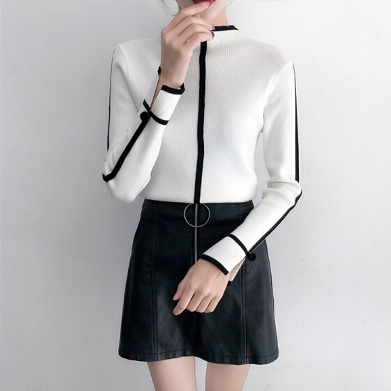 Turtleneck Sweater Women Contrast Color Patchwork Pullover Long Sleeve Fashion Casual Female Bottoming Sweaters