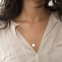 Simple Gold Round Pendant Short 316L Stainless Steel Necklace Clavicle Chain Wholesale Can Be Engraved