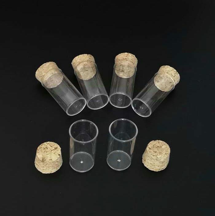 20pcs/Pack 24x45mm Flat Bottom Tea Plastic Test Tube Drosophila Vials Culture Tube With Cork Stoppers Free Shipping