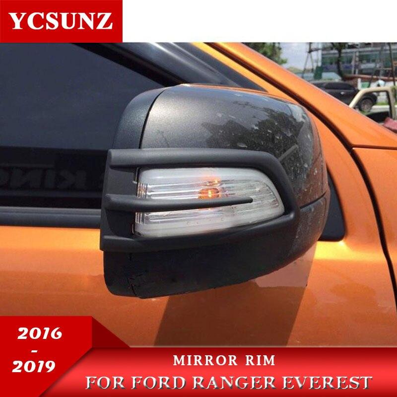 2019 Mirror Rim For Ford Ranger Everest Endeavour 2016 2017 2018 2019 ABS Black 2pcs/set
