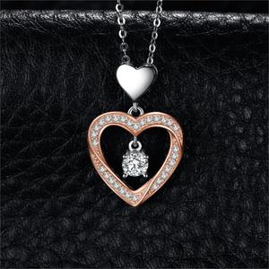 Image 2 - JPalace Heart Gold Silver Pendant Necklace 925 Sterling Silver Choker Statement Necklace Women Silver 925 Jewelry Without Chain