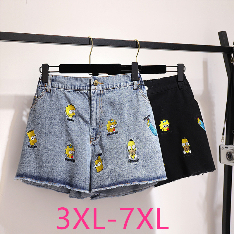 New 2020 Summer Plus Size Denim Shorts For Women Large Loose Casual Elastic Waist Pocket Jeans Shorts Blue Black 4XL 5XL 6XL 7XL