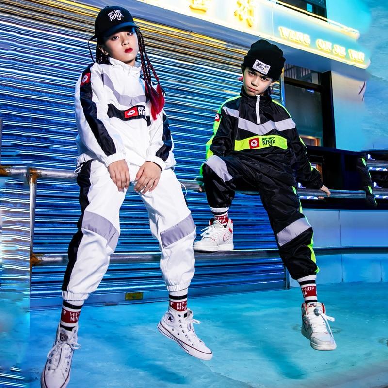 Hip-Hop Dance Costumes For Kids Loose Jacket Hiphop Suit Boys Girls Jazz Dance Costumes Street Dancewear Rave Clothes DQS3680