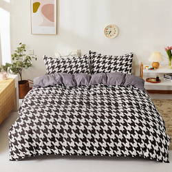 Classic Bedding Set Cartoons Bedclothes Home Double Bed Duvets Flat Bed Sheet Adult Lattice Flowers Quilt Covers With Pillowcase