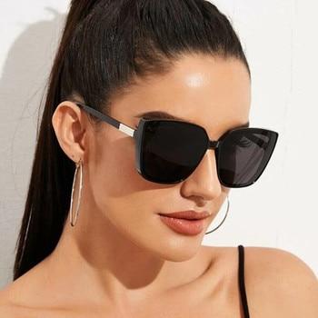 Fashion Plastic Cat Eye Women Oversized Sunglasses Brand Designer Vintage Retro Mirror Sun Glasses For Female UV400 Oculos