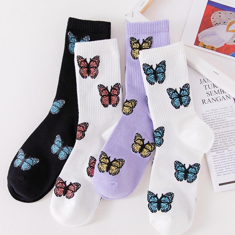 Новые носки с бабочками для женщин уличная мода Harajuku Crew европейский размер 35-40 японские корейские милые дизайнерские носки