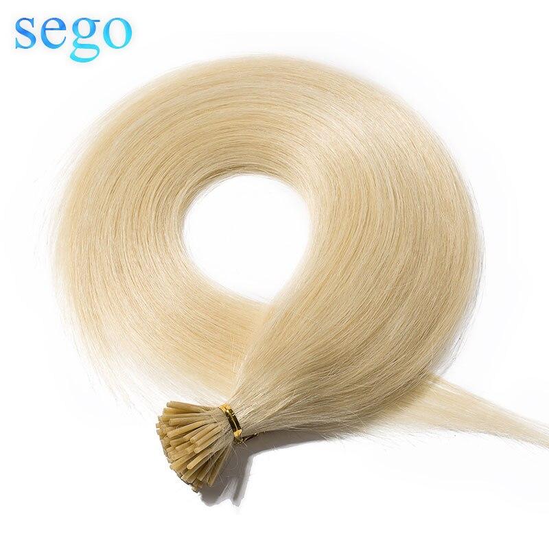 Sego 16 16 22-22 50 50g 100 fios em linha reta 100% cabelo humano eu ponta vara queratina extensões do cabelo pré ligado não-remy fusão cabelo