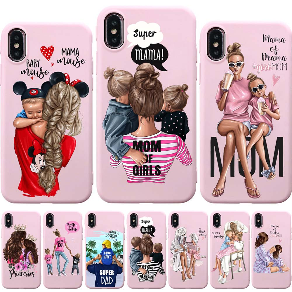 super mama boy e girl love sarra art family super mom dad mother daughter son pink case for iphone 11 x xr pro xs max 7 8 6 plus