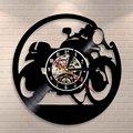 Виниловые настенные часы ручной работы для кафе и гонщика  Классические виниловые настенные часы для мотоциклов  часы для мотоциклистов  по...